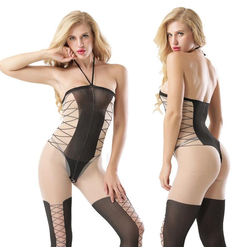 Body Sexy puro negro y Nude, media con impresión de rayas superpuestas, Retro, con escote Halter
