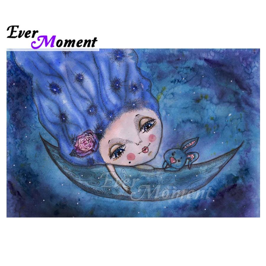 Ever Moment Diamond Painting Cross Stitch Fairy Rabbit Boat Full Square Mosaic Rhinestone 5D DIY Diamond Embroidery S2F2346