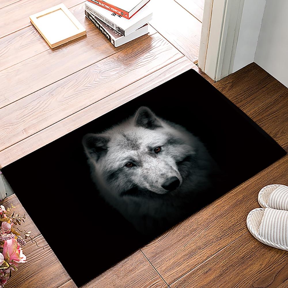 Felpudo clásico, Felpudo de cabeza de Lobo, Felpudo de exterior para interior de baño, Felpudo de bienvenida para puerta delantera