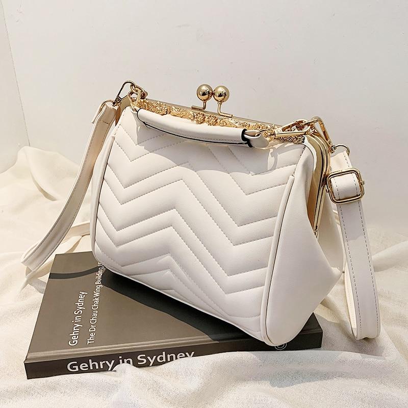 Chevron Clip Top Women Shoulder Bag PU Leather Crossbody Bags for Women 2021 Satchel Bag Luxury Brand Ladies Handbags