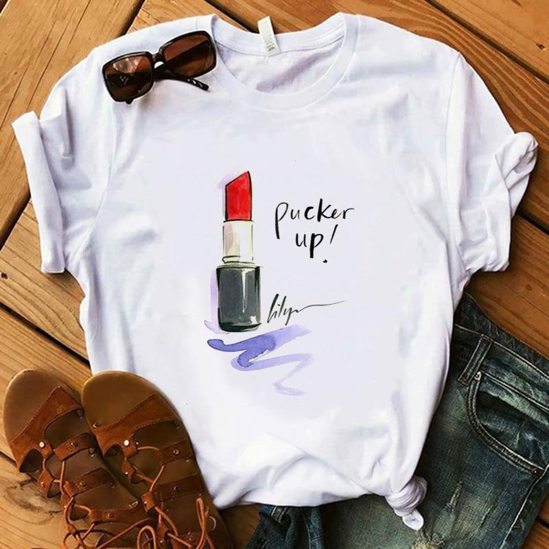 2020 verano Mujer camiseta maquillaje colección de pintalabios fiesta camiseta señora camiseta Harajuku mujer Hipster camisetas