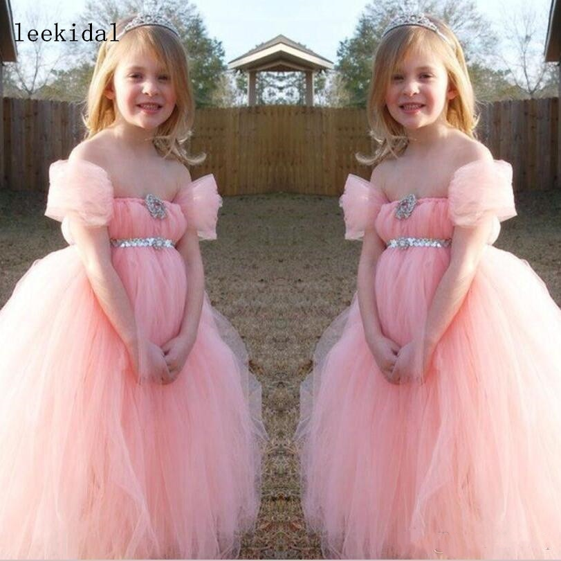 Pink Flower Girl Dresses Off The Shoulder Simple Tulle Floor Length Sequins Sash Girls Pageant Dresses Girls Birthday Party