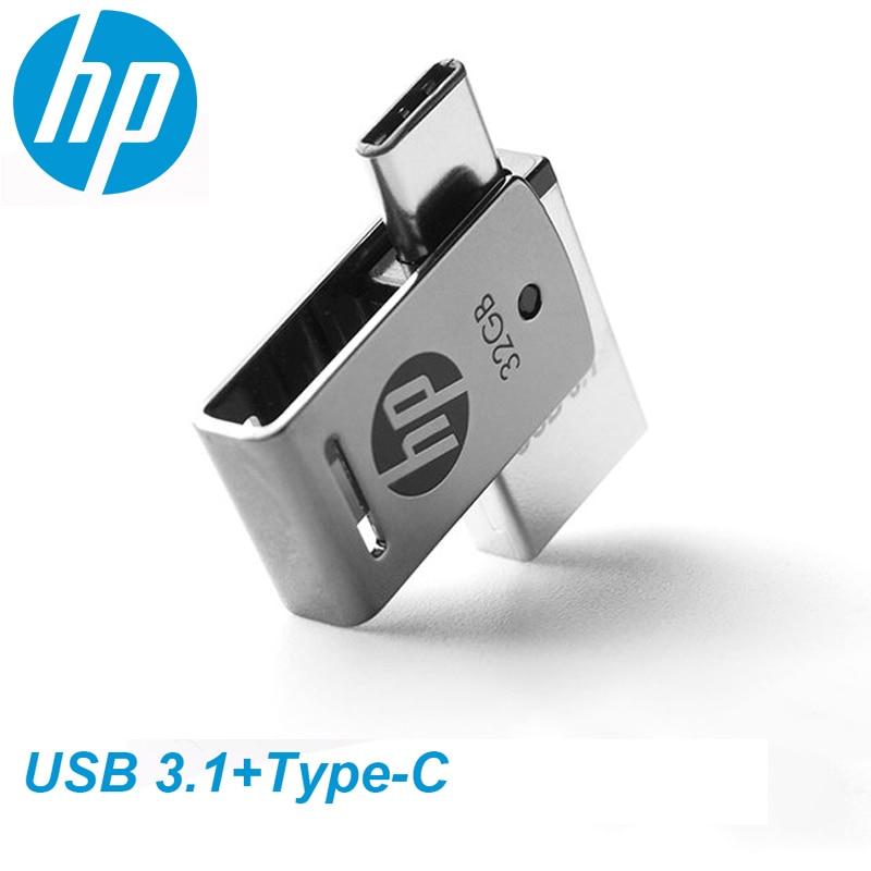 HP OTG Type-C USB3.1 Metal USB Flash Drive 256GB 128GB 64GB High Speed X5000M Pendrive for SmartPhon