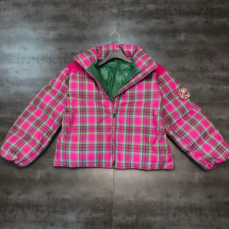 2019 invierno nuevo abrigo de algodón a cuadros de color de manga con cuentas de diamantes de imitación