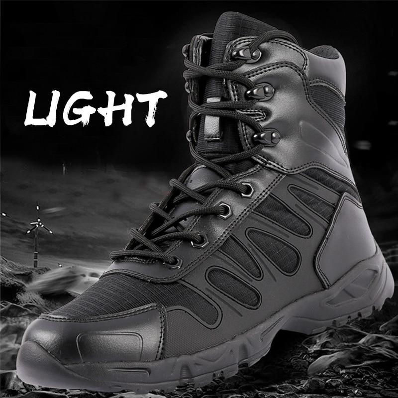 خفيفة الوزن الشتاء أحذية للرجال Ankel الصحراء التكتيكية العسكرية الأحذية الجلدية دراجة نارية الأحذية تنفس الثلوج الأحذية الذكور 47