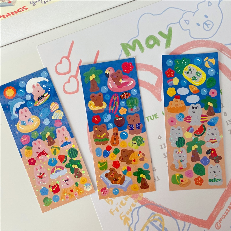 Cartoon Bear Rabbit Cat Cute Stickers Korean Ins Glittering Laser Waterproof Post It Mobile Phone Stationery Decorative Sticker