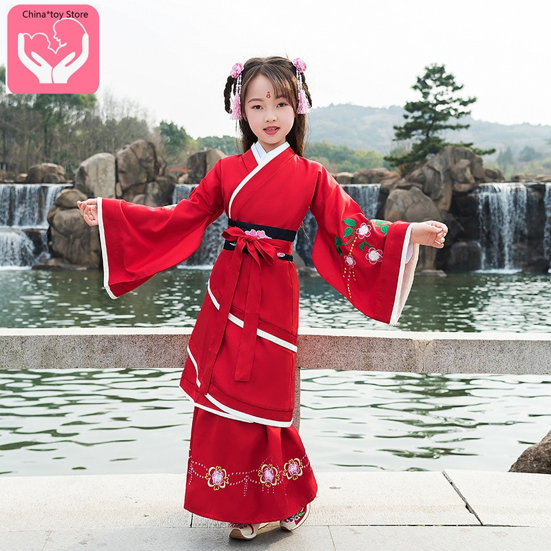 Children's Hanfu Tang Suit Costume Embroidered Clothing Chinese Embroidery Clothing Baby Clothes Polyester