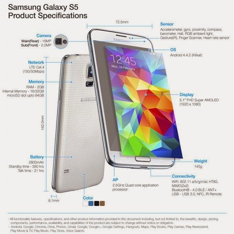 Original Unlocked Samsung Galaxy S5 I9600 G900F G900A Mobile Phone 5.1