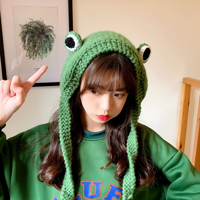 Fashion Frog Hat Beanies Knitted Winter Hat Solid Hip-hop Skullies Knitted Hat Cap Costume Accessory