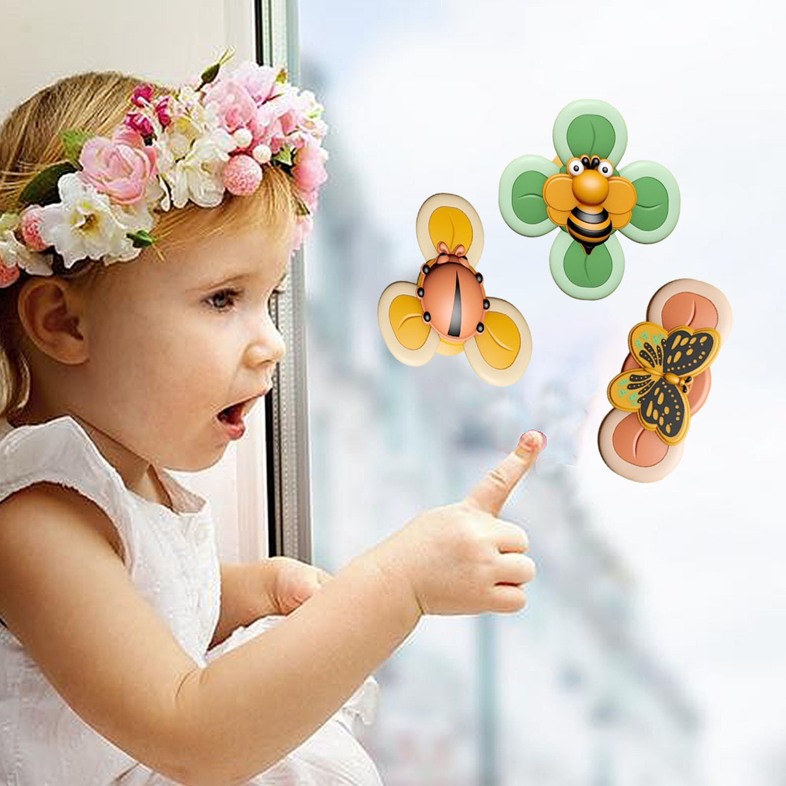 3PCS New Baby Bath Spinning Top Toy Insect Hand Spinner Toys With Suction Cup Spinner Toys Decompresssion Toys Gift For Kids enlarge