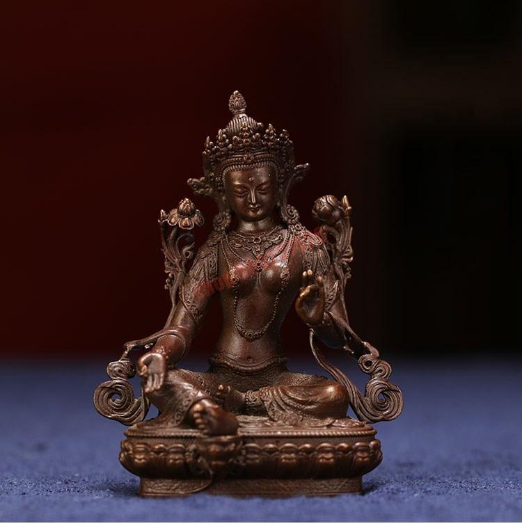Verde de Cobre Estátua de Buda de Bodhisattva Puro Tara Budismo Tântrico Tibetano Decoração Doméstica Requintado B-nível Artesanato