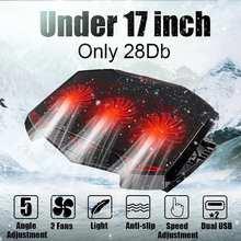 Support de refroidisseur de plaque de refroidissement pour ordinateur portable dangle réglable à 5 vitesses avec 2 ventilateurs USB 3 pour ordinateur portable 12