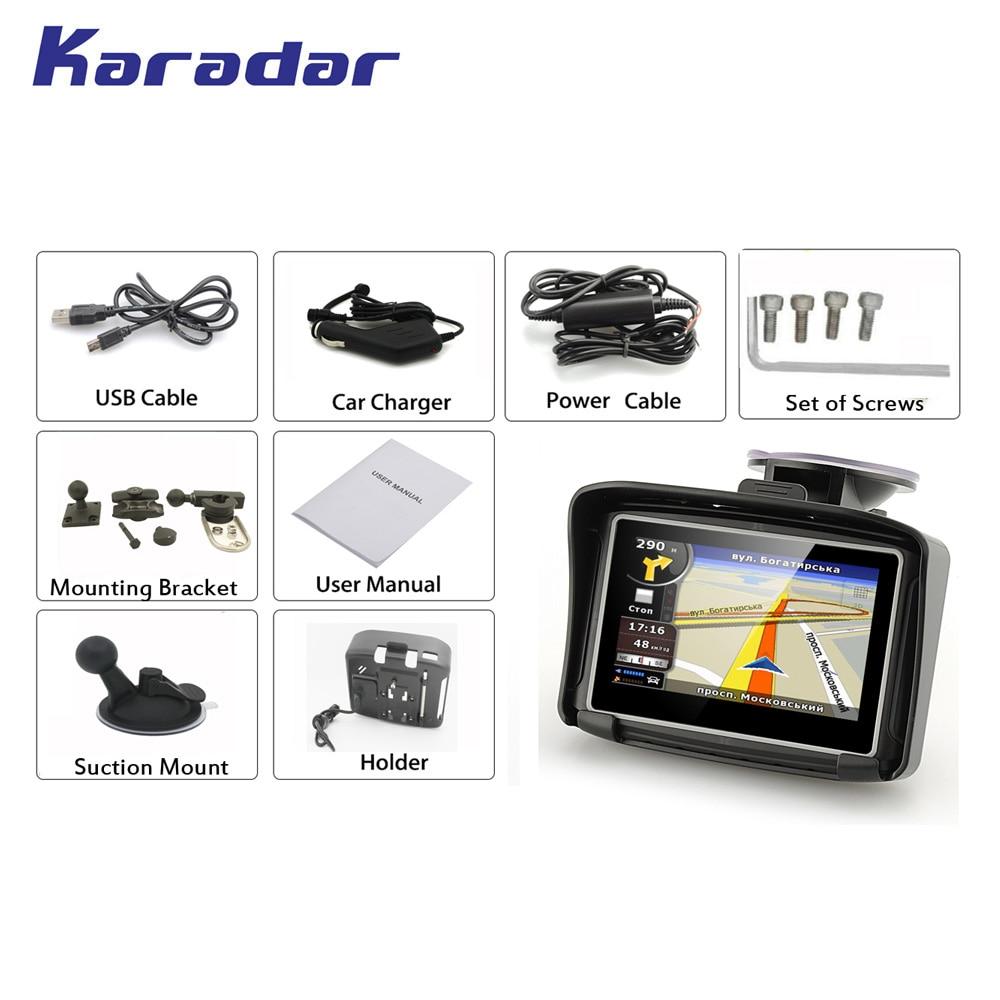 Купить с кэшбэком KARADAR Prolech Rider, 4.3 inch touchscreen 2 colors in stock A Motorcycle GPS Guidance System Free Shipping