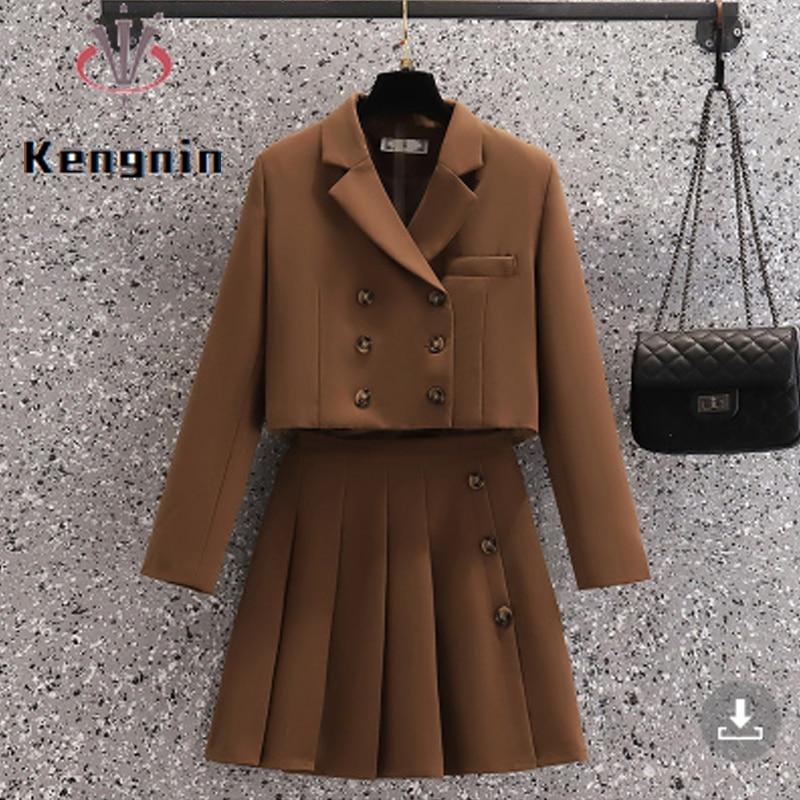 Autumn Winter Women Sets Loose Oversized 4XL Short Style Blazer + Pleated Zipper Skirts Two Piece Sets Office Lady Suits KE2046