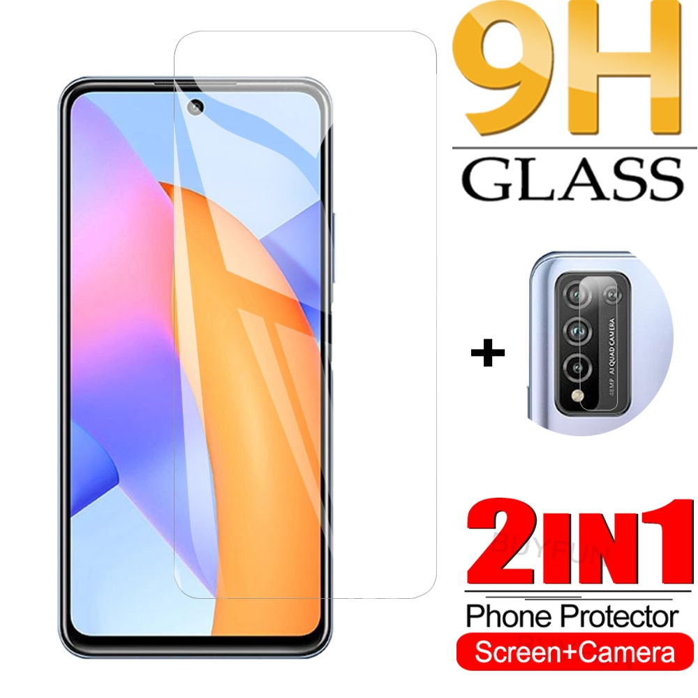 2-IN-1 Safety Glass For Huawei Honor 10X Lite Screen+Camera Protector On For huawei honor 10x lite s