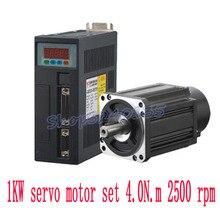 Moteur de servo AC 1000w 80ST-M04025   Haute qualité 1kw 4N.M 2500rpm, moteur de Servo AC et pilote de Servo avec câble de Servo 80ST