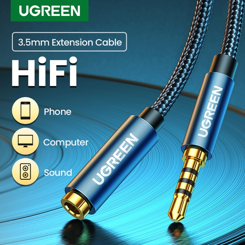 UGREEN 3.5mm Jack AUX Audio Male to Female Extension Cable with Microphone Stereo 3.5 Audio Adapter Compatible for PC Headphones