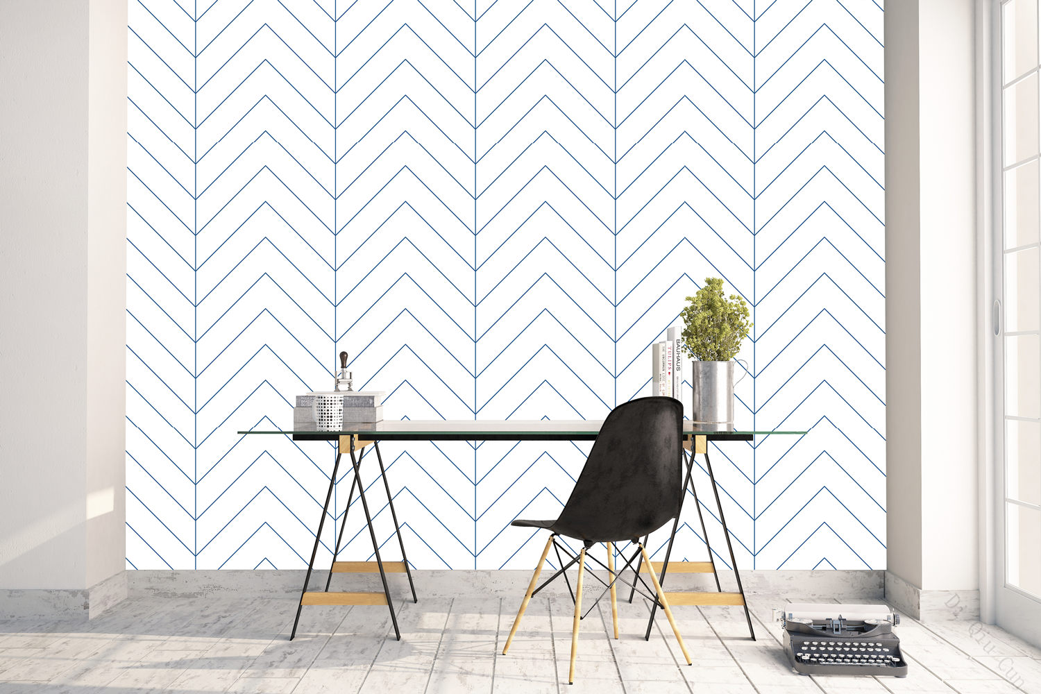 Geometric Herringbone Peel and Stick Wallpaper White And Blue Line Wallpaper Self-Adhesive Wall Stickers For Bedroom Home Decor