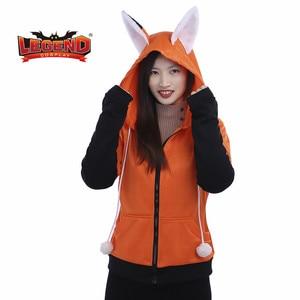 Animal Fox Ear Cosplay Costumes Hoodie Coat Warm Orange Sweatshirt Unisex Hoodies cat ear hoodie jacket cosplay EU USA size