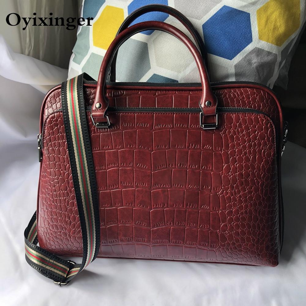 Oyixinger 2021 المرأة حقيبة الموضة الصلبة حقائب حقيبة جلدية لأجهزة الكمبيوتر المحمولة 14 بوصة المرأة المهنية حقيبة كتف الأعمال