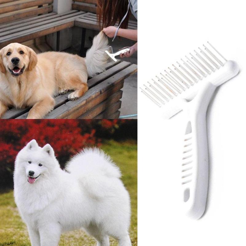 Professional Pet Dog Rake Comb Double Row Pins Horses Undercoat Rake Cats Loosen Wet Dry Use Grooming Pet Supplies