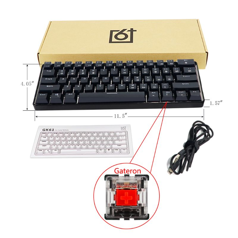 GK61 SK61 61 Key Mechanical Keyboard USB Wired LED Backlit Axis Gaming Gateron Optical Switches For Desktop Dropship