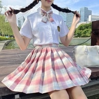 Summer New JK Uniform Pleated Mini Skirt College Style Two Piece Set Women Skirts Sets Young Fashion Girl 2021 New Outfit Shirt