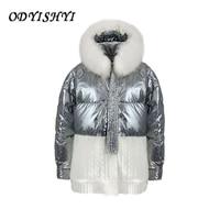 white duck down knitt stitching fox fur collar coat shiny feather jacket short women 2021 winter warm outwear lady hooded parkas