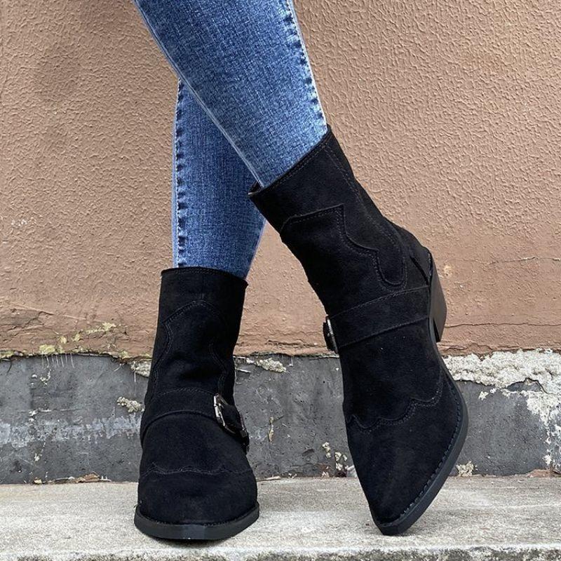 Autumn Winter 2021 Women's Fashionable Suede Belt Buckle Decorative Zipper Pointed Thick Heel Boots