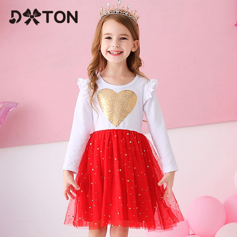 chinese style winter girls dress long sleeve embroidered cheongsam princess dresses for girls birthday party dress kids clothing DXTON Princess Kids Dress Heart Sequined Girls Dress Winter Long Sleeve Children Clothing Tutu Flare Sleeve Kids Party Dresses
