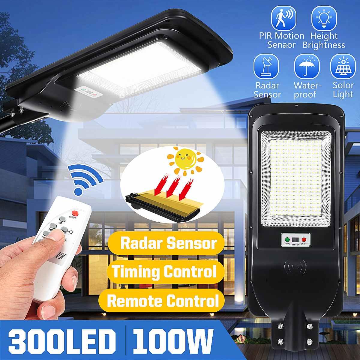 300LED الشمسية ضوء الشارع مقاوم للماء IP65 PIR محس حركة الذكية التحكم عن بعد مصباح 100 واط في الهواء الطلق حديقة الأمن الجدار الخفيفة