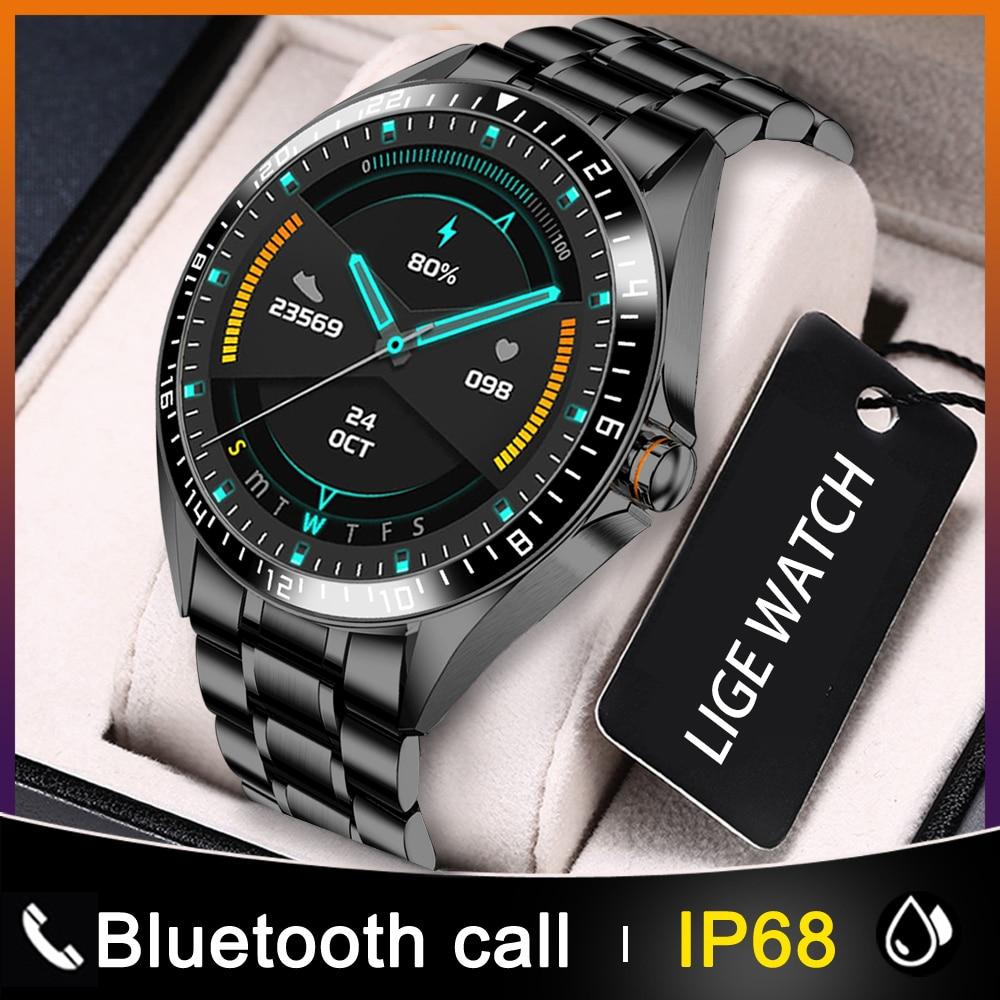 Tela de Toque dos Homens Relógio de Fitness Inteligente para Homens + Caixa Ip68 à Prova Lige Nova Moda Círculo Completo Relógios Inteligentes Dip68 Água Esportes Luxo Relógio
