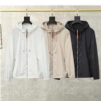 high quality men trench coats sun protection zipper hooded windbreaker man casual fashion jackets