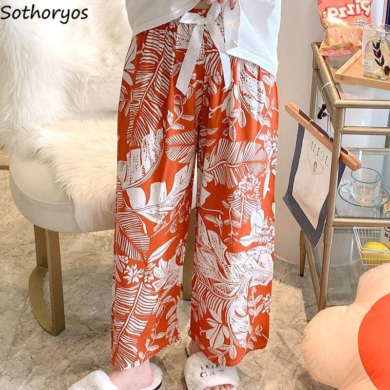 Wide Leg Sleep Bottoms Women Bow Baggy Printed Nightwear Cozy Ankle Length Pants Leisure Females Lou