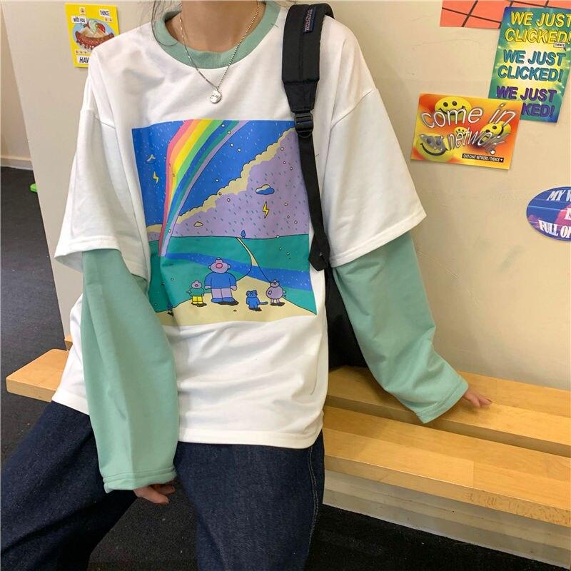 T-shirt à manches longues femme de Style coréen hauts de dessin animé arc-en-ciel, couture fausse deux pièces, printemps-automne 2020
