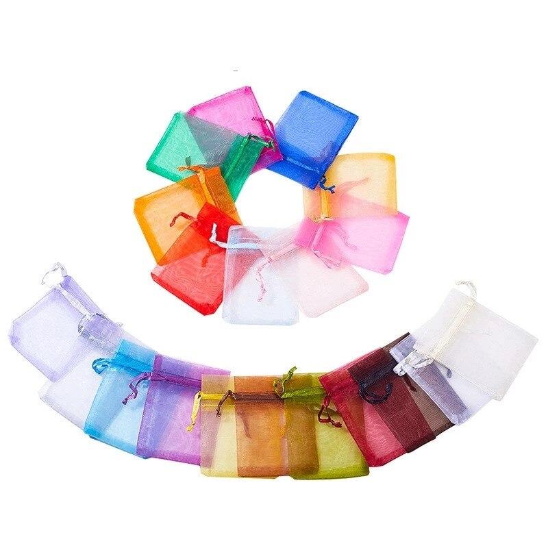 50pcs 7x9cm 9x12cm Transparent Organza Bags Christmas Halloween Gift Box Packaging Wedding Candy Chocolate