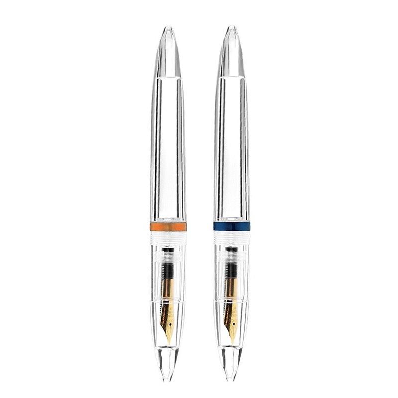 Pluma estilográfica de 2 uds. De 0,5mm con cuentagotas, plumas transparentes de alta capacidad, suministros para oficina y escuela, azul y oro rosa