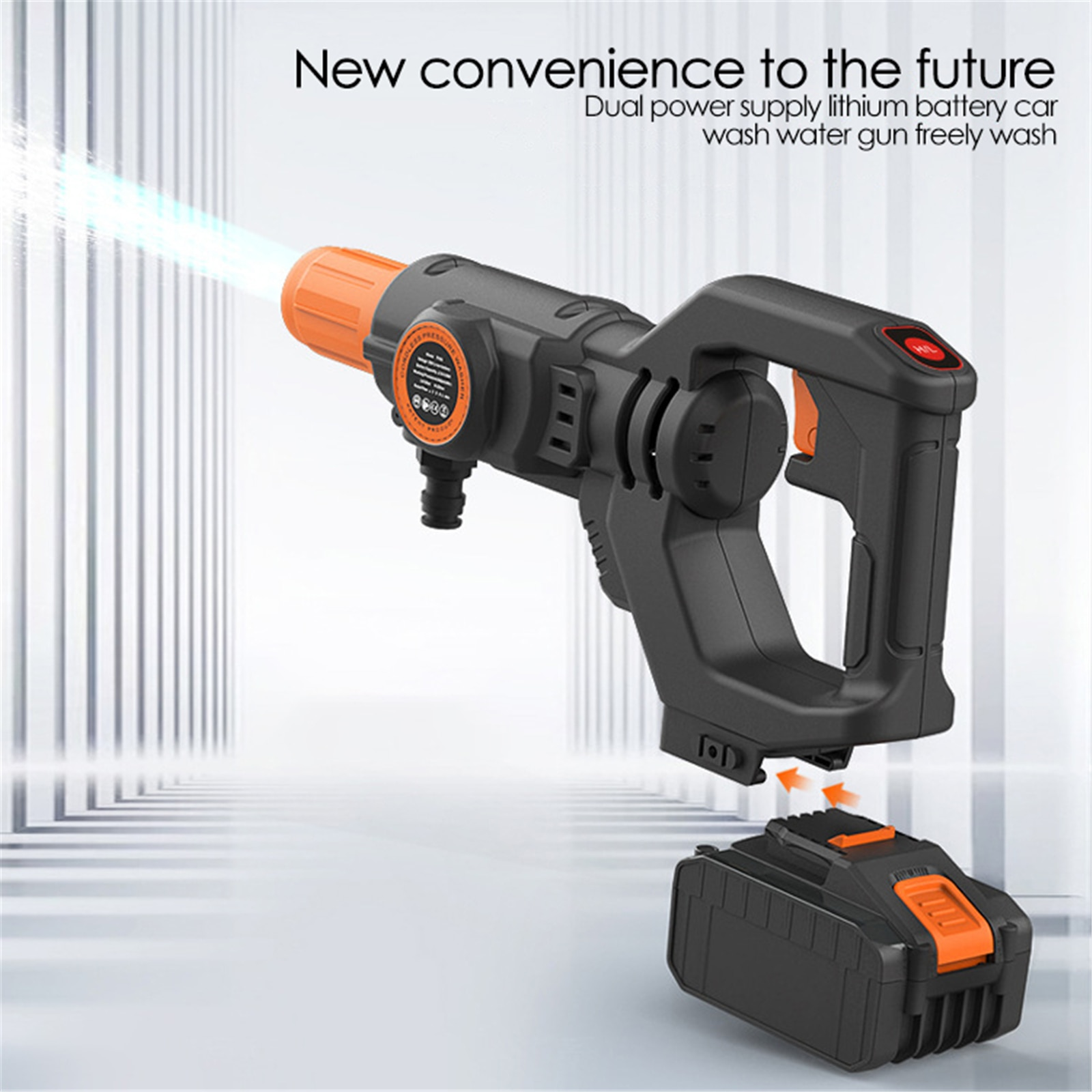 20V Cordless Pressure Washer Portable Car Cleaner With Two Nozzles, Hose,and Foam Pot Widely Used For Car And Ground Washing