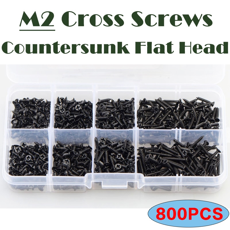 M2 Carbon Steel Black M2 Cross Screws 800PCS Countersunk Flat Cross Head Screw Bolt Set