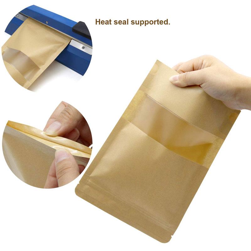 23x33CM gran bolsa de bolsas con ventana de papel Kraft Ziplock sello resellable gran comida de té envío gratis