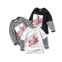 spring white long sleeve t shirts for big boys korean cotton striped patchwork tops korean baby boy clothes teen base tee shirts