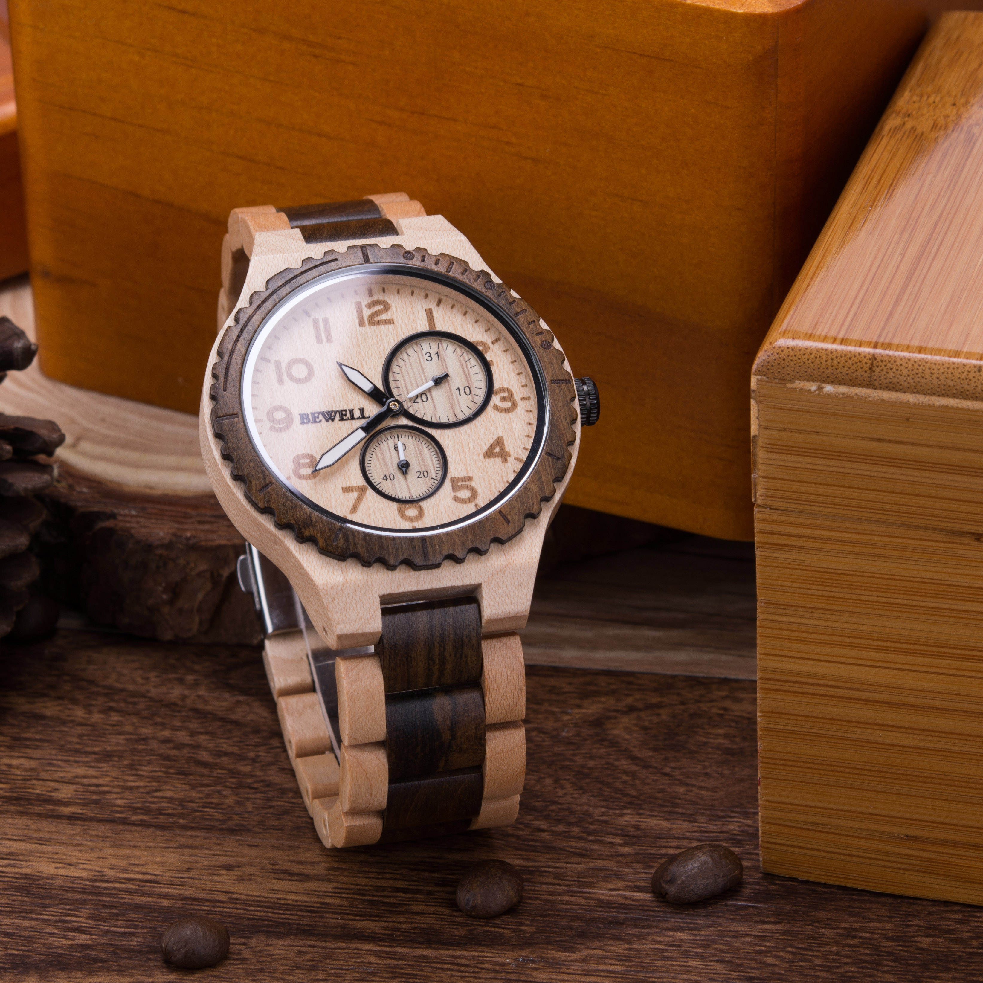 BEWELL Wooden Watch Men Quartz Date Casual Retro reloj hombre Lightweight Luminous Wood Watches for Men Relogio Masculino W154A enlarge