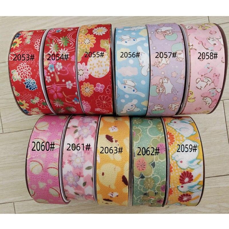 5 jardas/lote fita de gorgorão impresso adorável floral cetim fitas para diy arco artesanato cartão presentes embrulhando materiais (25/38mm)