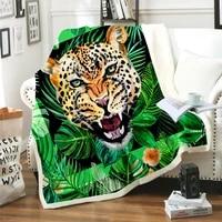 Couverture carree chaude et epaisse en laine 2020  imprimee numerique  tigre vert  a la mode  pour lhiver