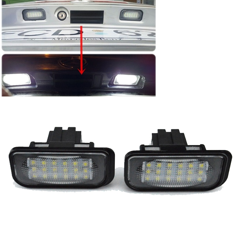 2 uds luz LED de matrícula para Mercedes Benz W203 R230 W209 C209 A209 SL CLK clase