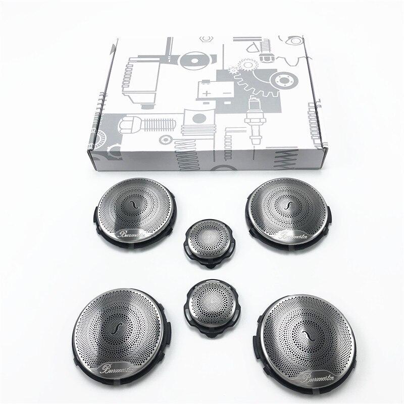 6 Car speaker Covers For Mercedes Benz GLC X253 W205 W213 E C AMG Class Series Silver Door Loudspeaker Tweeter Midrange Lid Trim