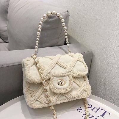 المرأة قماش الكتف رسول حقيبة كروسبودي السيدات Vintage حقيبة اليد اليد الإناث القطن الصوف القماش أكياس التسوق اللؤلؤ