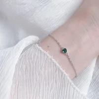 silvology 925 sterling silver green zircon heart bracelets for women minimalist elegant light luxury bracelets fashion jewelry