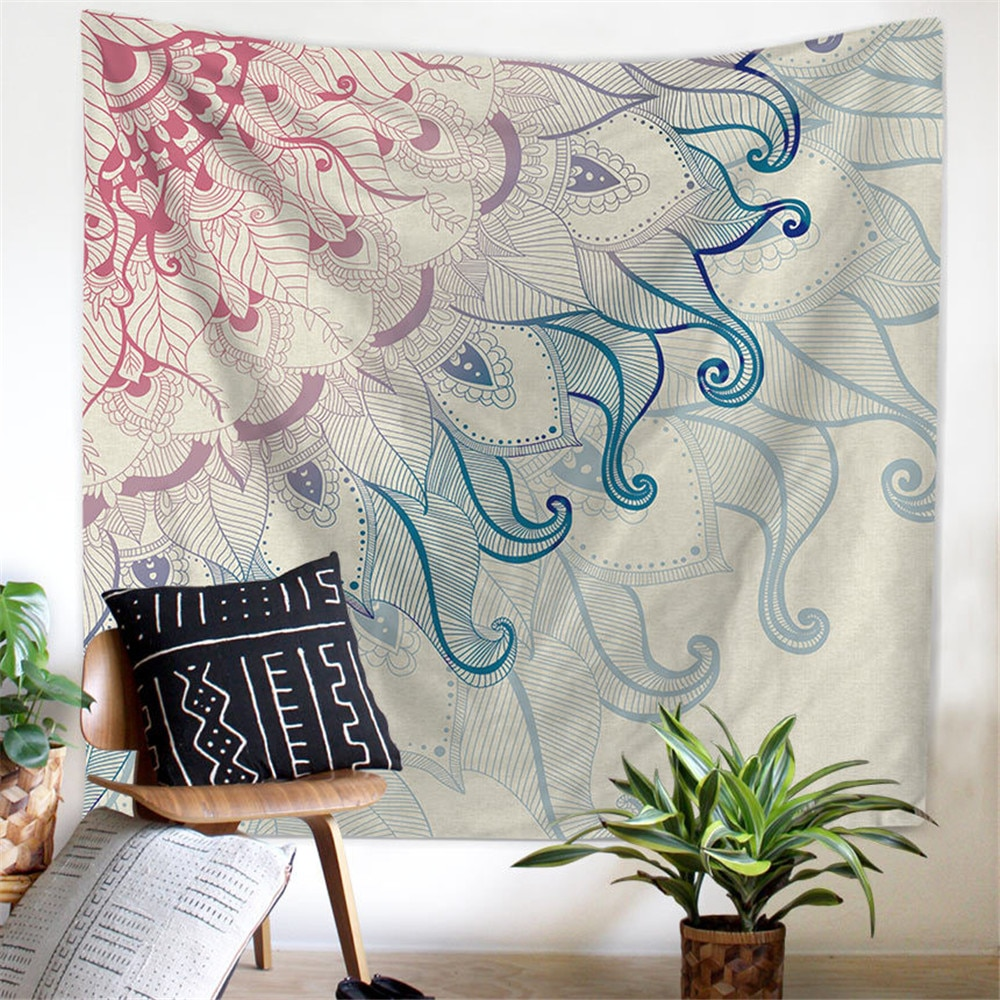 Tapestry Wall Hanging Polyester Indian Mandala Pattern Blanket Home Decoration Yoga Multifunction Mat Small colorful large hanging funny text party decoration tapestry wall hanging blanket yoga beach mat home decor house decoration