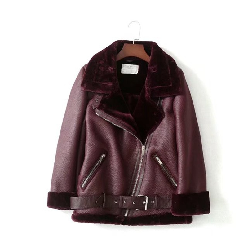 Wind winter women's fashion motorcycle version of lapel fur integrated thickened warm coat fur coat woman enlarge